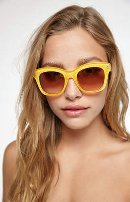 La Hearts Yellow Plastic Sunglasses