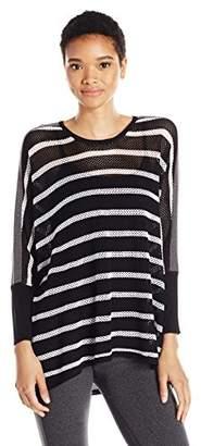 Blanc Noir Women's Stripe Drape Sweater