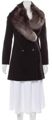 Diane von Furstenberg Fox Fur-Trimmed Wool Coat