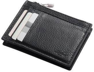 Wallets for men by Zodaca Men's Genuine Leather Wallet Zip Coin Pocket Purse Credit Card Holder Case - Black