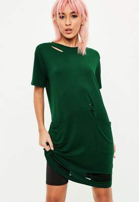 Missguided Green Short Sleeve Distressed Pocket T-Shirt Dress