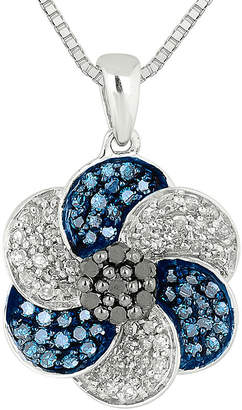 Black Diamond FINE JEWELRY 1/2 CT. T.W. White & Color-Enhanced Blue and Necklace