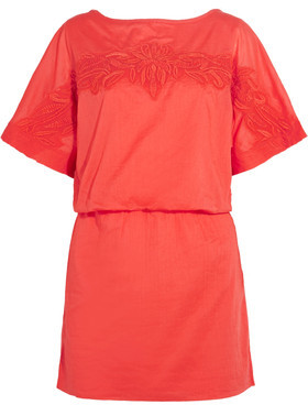 Vix Mayra Floral-Embroidered Appliquéd Cotton Coverup $176 thestylecure.com