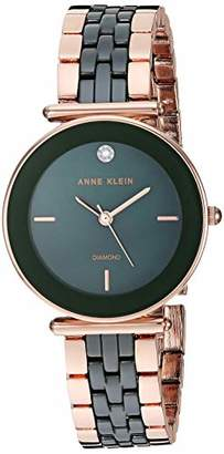 Anne Klein Women's AK/3158GNRG Diamond-Accented Rose Gold-Tone and Green Ceramic Bracelet Watch