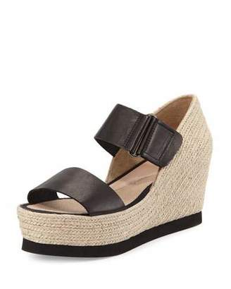 Andre Assous Gretta Leather Espadrille Wedge Sandal, Black/Natural $229 thestylecure.com