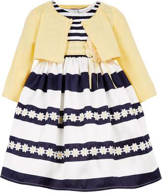 Blueberi Boulevard Toddler Girls Striped Dress & Cardigan