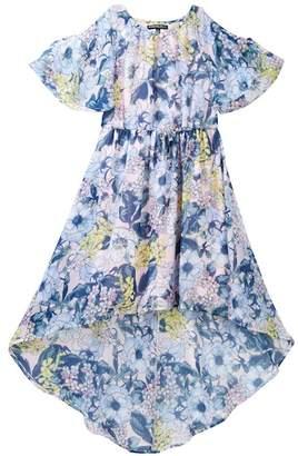 My Michelle mymichelle Floral Print Cold Shoulder Maxi Dress (Big Girls)