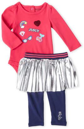 Juicy Couture Newborn Girls) Two-Piece Bodysuit & Skirted Leggings Set