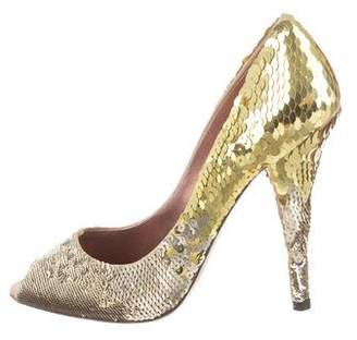 Miu Miu Sequin Peep-Toe Pumps