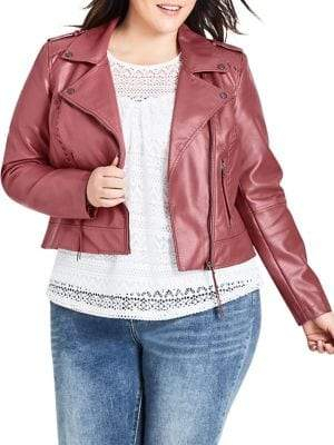 City Chic Plus Whip Stitch Biker Jacket