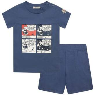 Moncler MonclerBaby Boys Blue Cartoon Top & Shorts Set