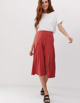 Asos Design DESIGN midi skater skirt with split and poppers