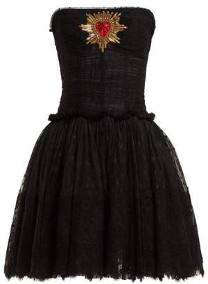 Dolce & Gabbana Strapless Tulle Mini Dress - Womens - Black