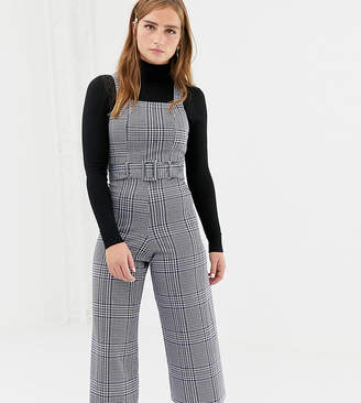 New Look check pinny jumpsuit in blue pattern