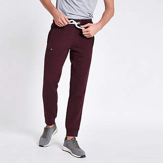 River Island Superdry dark red cuffed joggers