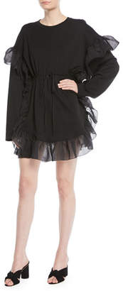 See by Chloe Cinched Long-Sleeve Ruffle Mini Dress