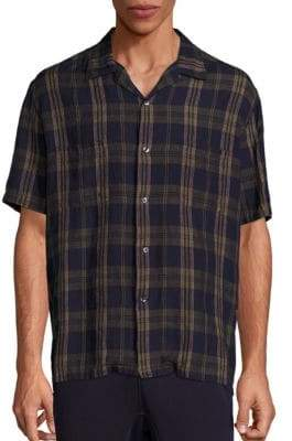 Vince Cabana Plaid Button-Down Linen Shirt