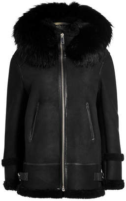 Mr & Mrs Italy Shearling Jacket with Raccoon Fur