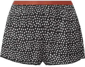 Love Stories - Edie Printed Satin Pajama Shorts - Black