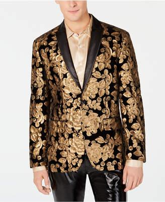 INC International Concepts I.n.c. Men's Floral Sequin Velvet Blazer