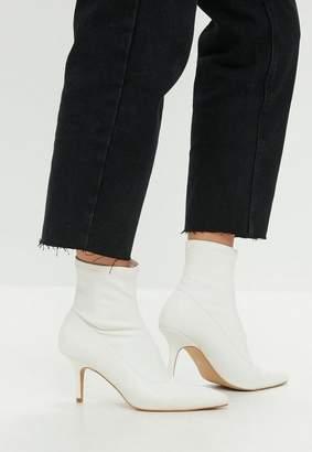 Missguided White Kitten Heel Ankle Boot