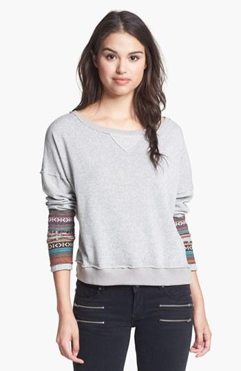 Love on a Hanger Embroidered Cuff Sweatshirt (Juniors)