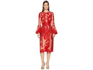 Marchesa A-Line Cocktail Scallop Lace Bell Sleeve Dress