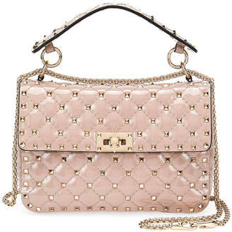 Valentino Rockstud Spike Quilted Patent Small Shoulder Bag