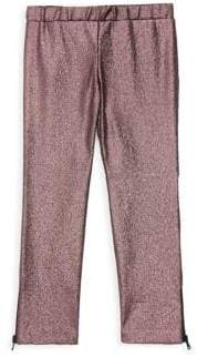 Milly Minis Little Girl's & Girl's Glittered Zip Cuff Leggings