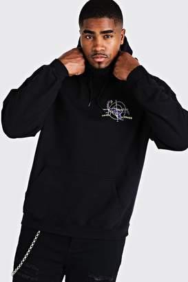 BoohoomanBoohooMAN Mens Black Big & Tall Scorpion Back Print Hoodie, Black