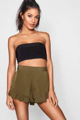 boohoo Solid Colour Ruffle Hem Shorts