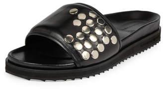 Alexander McQueen Studded Leather Slide-On Sandal, Black