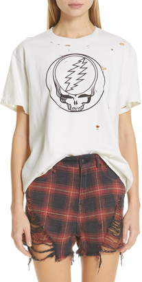 R 13 Steal Your Face Distressed Graphic Tee