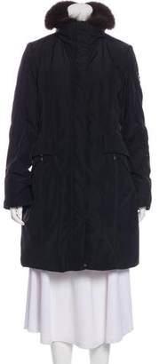 Post Card Knee-Length Fur-Trimmed Coat