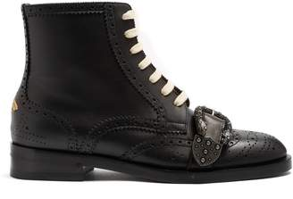 Gucci Queercore leather ankle boots
