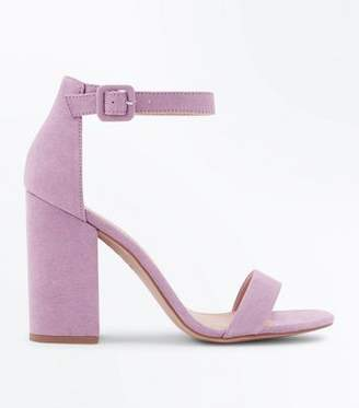 New Look Lilac Suedette Barely There Block Heels