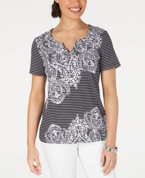 Karen Scott Striped Studded Top, Created for Macy's
