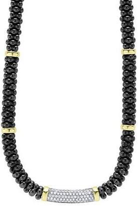 Lagos Black Caviar Diamond Station Necklace, 0.83ct.