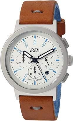 Vestal Men's 'Retrofocus Chrono Makers' Quartz Stainless Steel and Leather Dress Watch