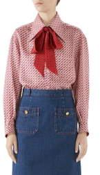 259733ba1 Gucci Stirrups Print Silk Twill Blouse