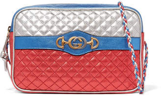 Gucci Metallic Quilted Leather Shoulder Bag - Red