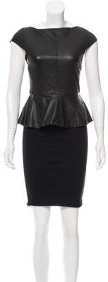 Alice + Olivia Leather-Accented Knee-Length Dress