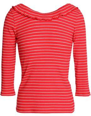 Claudie Pierlot Striped Ribbed Stretch-Cotton Top