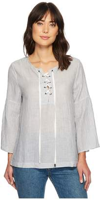 True Grit Dylan by Classic Stripe Lace-Up Shirt Women's Long Sleeve Pullover