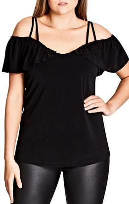 City Chic Frill Off the Shoulder Top