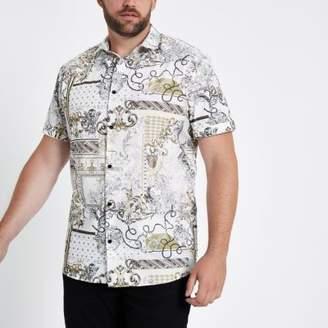 River Island Big and Tall white baroque slim fit shirt