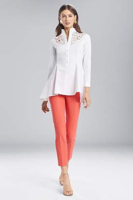 Natori Josie Cotton Shirting Flare Top With Embroidery