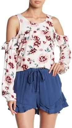 BB Dakota Cold Shoulder Floral Print Blouse