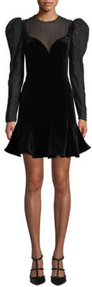 Valentino Strong-Shoulder Long-Sleeve Velvet A-Line Mini Dress