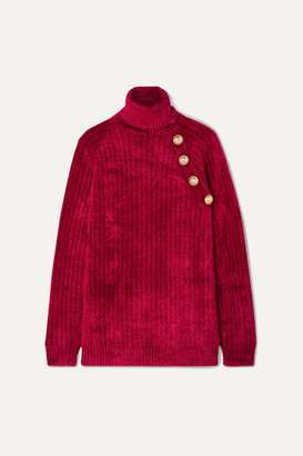 Balmain Button-embellished Chenille Turtleneck Sweater - Red